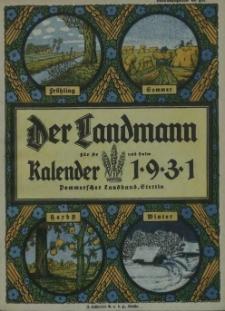 Der Landmann für Ar und Halm : kalender. 1931