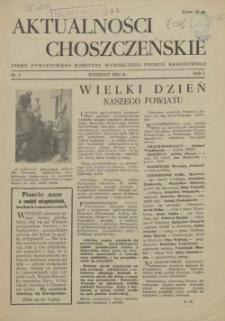 Aktualności Choszczeńskie : pismo Powiatowego Komitetu Wyborczego Frontu Narodowego. 1952 nr 1