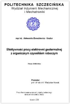 Efektywność pracy elektrowni geotermalnej z organicznym czynnikiem roboczym