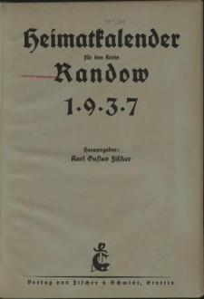 Heimat = Kalender für den Kreis Randow.1937