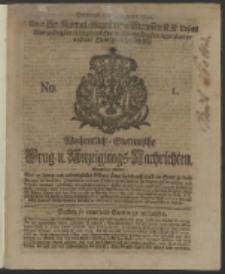 Wochentlich-Stettinische Frag- und Anzeigungs-Nachrichten. 1740 No. 1
