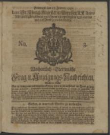 Wochentlich-Stettinische Frag- und Anzeigungs-Nachrichten. 1740 No. 3