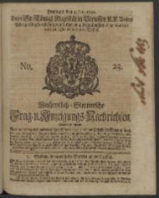 Wochentlich-Stettinische Frag- und Anzeigungs-Nachrichten. 1740 No. 23
