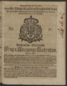 Wochentlich-Stettinische Frag- und Anzeigungs-Nachrichten. 1740 No. 31