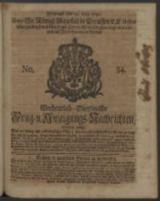 Wochentlich-Stettinische Frag- und Anzeigungs-Nachrichten. 1740 No. 34