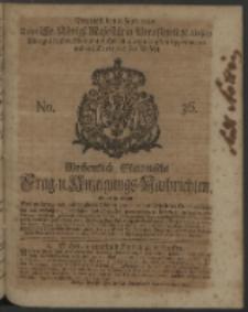 Wochentlich-Stettinische Frag- und Anzeigungs-Nachrichten. 1740 No. 36