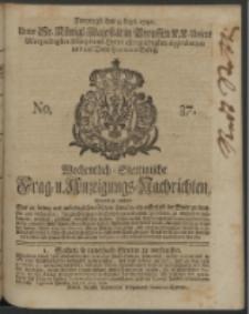 Wochentlich-Stettinische Frag- und Anzeigungs-Nachrichten. 1740 No. 37
