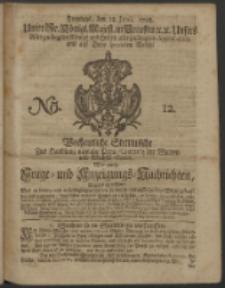 Wochentliche Stettinische zur Handlung nützliche Preis-Courante der Waaren und Wechsel-Cours, wie auch Frage- und Anzeigungs-Nachrichten. 1728 No. 12