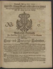Wochentliche Stettinische zur Handlung nützliche Preis-Courante der Waaren und Wechsel-Cours, wie auch Frage- und Anzeigungs-Nachrichten. 1728 No. 17