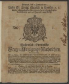 Wochentlich-Stettinische Frag- und Anzeigungs-Nachrichten. 1742 No. 1
