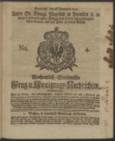 Wochentlich-Stettinische Frag- und Anzeigungs-Nachrichten. 1742 No. 4