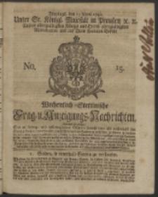 Wochentlich-Stettinische Frag- und Anzeigungs-Nachrichten. 1742 No. 15