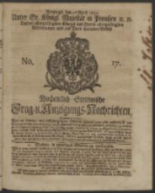 Wochentlich-Stettinische Frag- und Anzeigungs-Nachrichten. 1742 No. 17