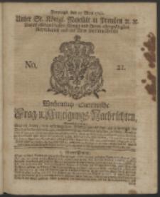 Wochentlich-Stettinische Frag- und Anzeigungs-Nachrichten. 1742 No. 21