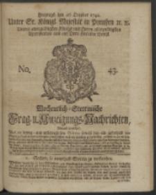 Wochentlich-Stettinische Frag- und Anzeigungs-Nachrichten. 1742 No. 43