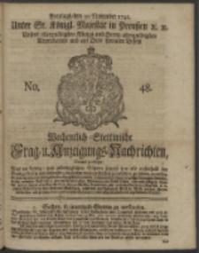 Wochentlich-Stettinische Frag- und Anzeigungs-Nachrichten. 1742 No. 48