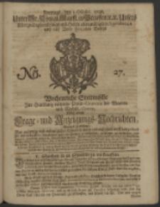 Wochentliche Stettinische zur Handlung nützliche Preis-Courante der Waaren und Wechsel-Cours, wie auch Frage- und Anzeigungs-Nachrichten. 1728 No. 27