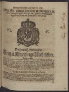 Wochentlich-Stettinische Frag- und Anzeigungs-Nachrichten. 1747 No. 45