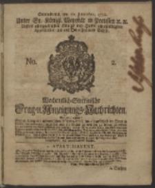 Wochentlich-Stettinische Frag- und Anzeigungs-Nachrichten. 1750 No. 2