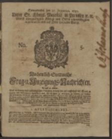 Wochentlich-Stettinische Frag- und Anzeigungs-Nachrichten. 1750 No. 5