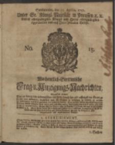 Wochentlich-Stettinische Frag- und Anzeigungs-Nachrichten. 1750 No. 15