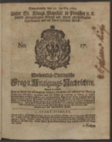 Wochentlich-Stettinische Frag- und Anzeigungs-Nachrichten. 1750 No. 17
