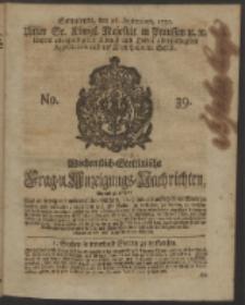 Wochentlich-Stettinische Frag- und Anzeigungs-Nachrichten. 1750 No. 39
