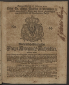 Wochentlich-Stettinische Frag- und Anzeigungs-Nachrichten. 1750 No. 44