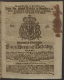 Wochentlich-Stettinische Frag- und Anzeigungs-Nachrichten. 1750 No. 46