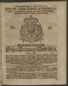 Wochentlich-Stettinische Frag- und Anzeigungs-Nachrichten. 1750 No. 48