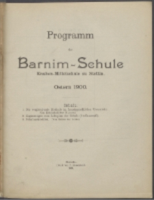 Programm der Barnim-Schule Knaben-Mittelschule zu Stettin. Ostern 1900