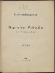 Stoffverteilungsplan der Barnim-Schule Knaben-Mittelschule zu Stettin