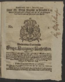 Wochentlich-Stettinische Frag- und Anzeigungs-Nachrichten. 1752 No. 1