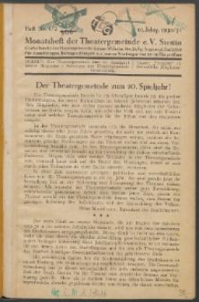 Monatsheft der Theatergemeinde e.V. Stettin. Jg. 10, 1930/1931 H. Nr. 1/2