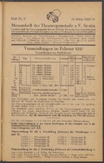 Monatsheft der Theatergemeinde e.V. Stettin. Jg. 10, 1930/1931 H. Nr. 8