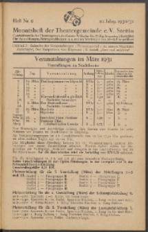 Monatsheft der Theatergemeinde e.V. Stettin. Jg. 10, 1930/1931 H. Nr. 9