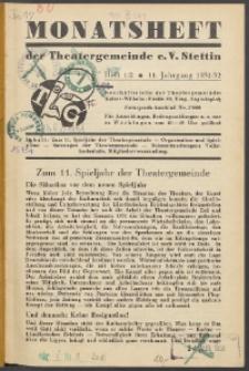 Monatsheft der Theatergemeinde e.V. Stettin. Jg. 11, 1931/1932 H. 1/2