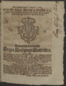 Wochentlich-Stettinische Frag- und Anzeigungs-Nachrichten. 1752 NO. 33 + Anhang
