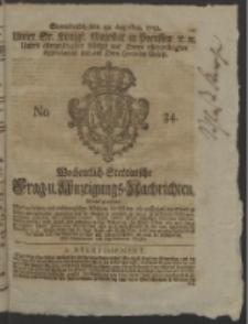 Wochentlich-Stettinische Frag- und Anzeigungs-Nachrichten. 1752 No. 34 + Anhang