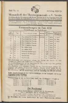 Monatsheft der Theatergemeinde e.V. Stettin. Jg. 10, 1930/1931 H. Nr. 12