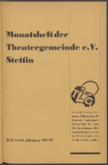 Monatsheft der Theatergemeinde e.V. Stettin. Jg. 11, 1931/1932 H. 9