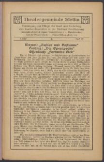 Monatsheft der Theatergemeinde e.V. Stettin. Jg. 1, 1921/22 H. 12