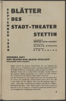 Blätter des Stadttheaters Stettin. 1929/1930