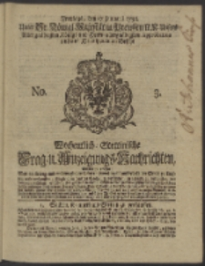 Wochentlich-Stettinische Frag- und Anzeigungs-Nachrichten. 1738 No. 3