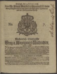 Wochentlich-Stettinische Frag- und Anzeigungs-Nachrichten. 1738 No. 7
