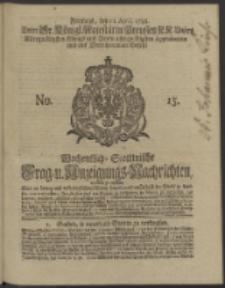 Wochentlich-Stettinische Frag- und Anzeigungs-Nachrichten. 1738 No. 15