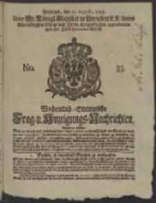 Wochentlich-Stettinische Frag- und Anzeigungs-Nachrichten. 1738 No. 33