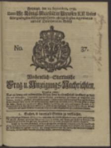 Wochentlich-Stettinische Frag- und Anzeigungs-Nachrichten. 1738 No. 37