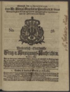 Wochentlich-Stettinische Frag- und Anzeigungs-Nachrichten. 1738 No. 38