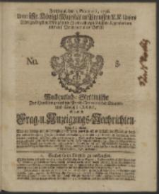Wochentliche Stettinische zur Handlung nützliche Preis-Courante der Waaren und Wechsel-Cours, wie auch Frage- und Anzeigungs-Nachrichten. 1736 No. 5